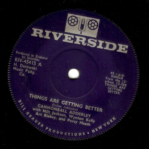 CANNONBALL ADDERLEY Things Are Getting Better Vinyl Record 7 Inch Riverside 1961